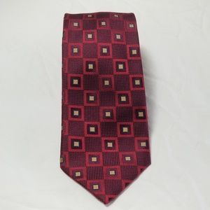 Henry Jacobson Red And Gold 100% Silk Tie